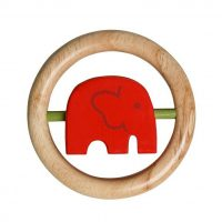 Wooden Red Elephant Rattle