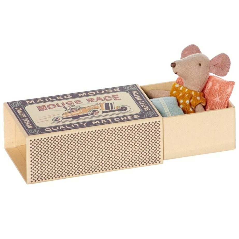 Maileg Little Sister Matchbox Mouse In Yellow Polka Dot Dress