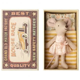 Maileg Little Sister Matchbox Mouse Pink Polka Dot Skirt
