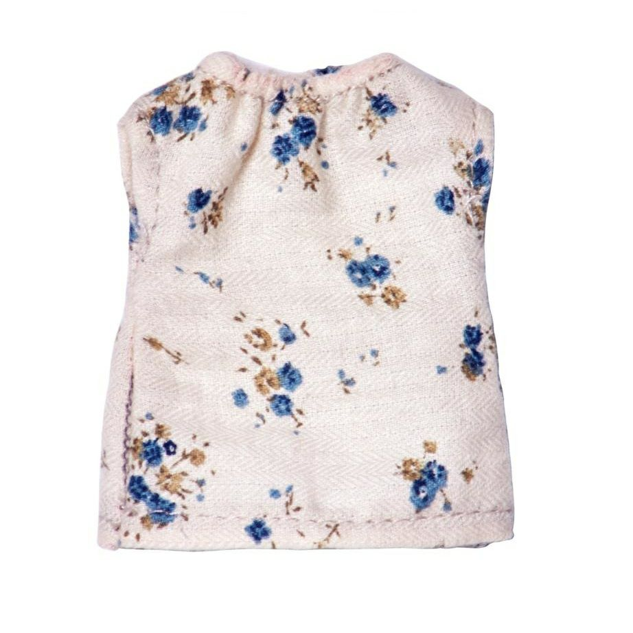 Maileg Micro Nightdress Cream With Blue Flowers