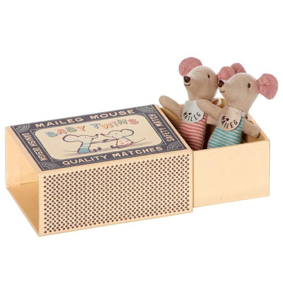 Maileg Baby Twin Mice in a Matchbox