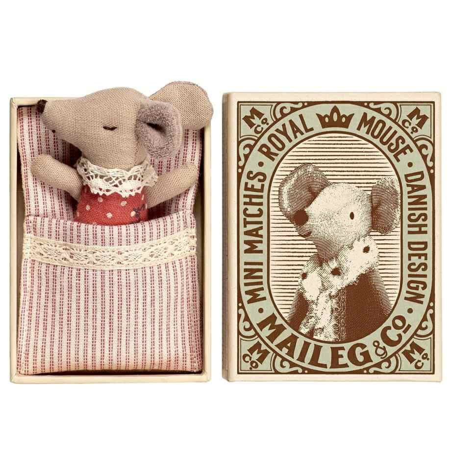 maileg baby sleepy wakey mouse in a matchbox. Black Bedroom Furniture Sets. Home Design Ideas