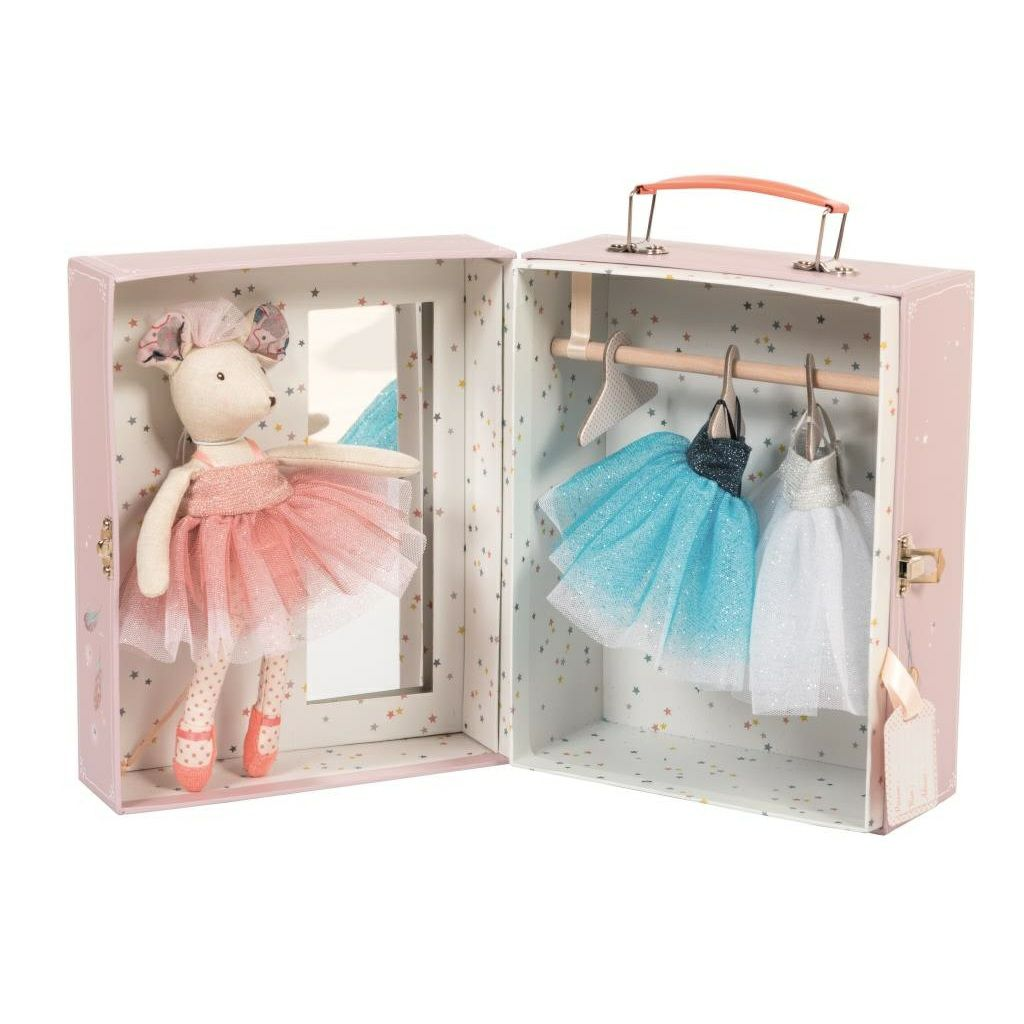 moulin roty il etait une fois ballerina mouse doll with wardrobe. Black Bedroom Furniture Sets. Home Design Ideas