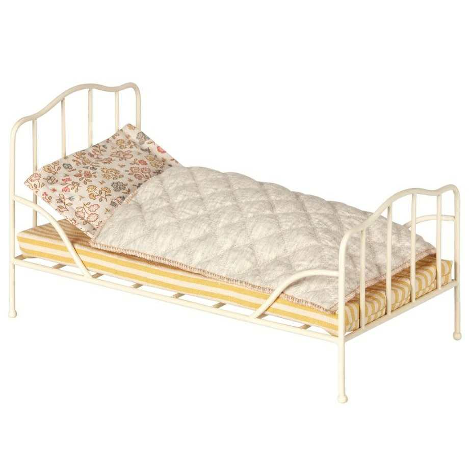 db1dfa5a7c1 Maileg Mini Metal Framed off White Gold Bed