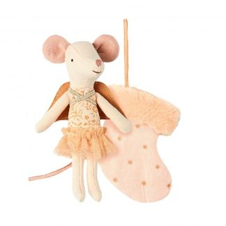 Christmas Angel Mouse Peach in a Stocking