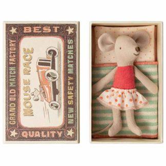 Maileg Little Sister Matchbox Mouse in Spotty Skirt