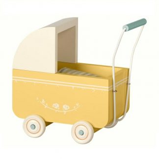 Maileg Micro Wooden Yellow Pram