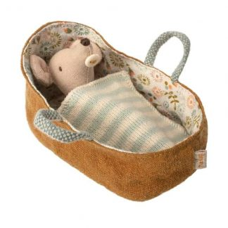 Maileg Baby Mouse with Carry Cot