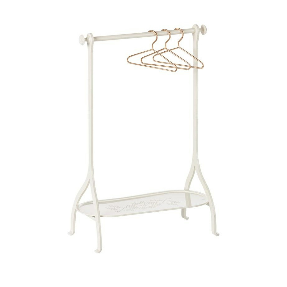 Maileg off white metal clothes rack with hangers