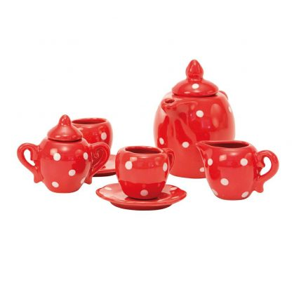 Grand Family Red Ceramic Tea Set