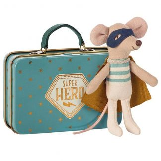 Maileg Little Brother Super Hero Mouse in Travel Suitcase