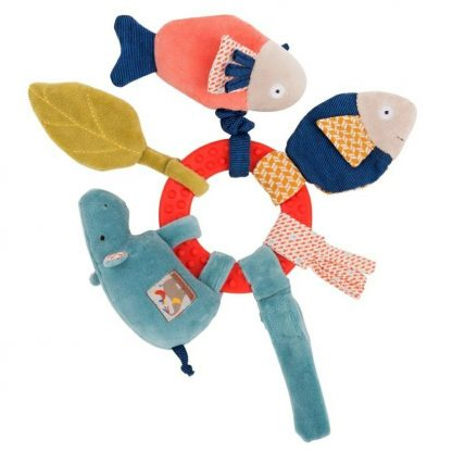 Moulin Roty Les Papoum Hippo Activity Ring Rattle