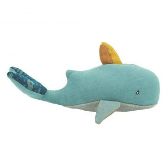 Moulin Roty Olgas Travel Whale Soft Toy Rattle