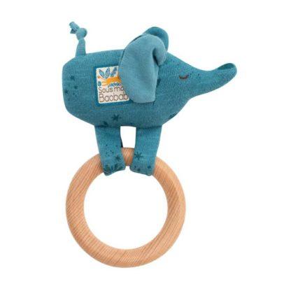 Sous mon Baobab Bergamote Elephant Ring Rattle
